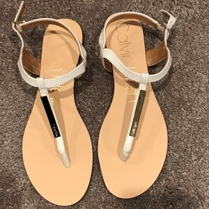 Calvin Klein white sandal with gold details